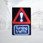 LED Triangular Warning Signs with Turning Traffic